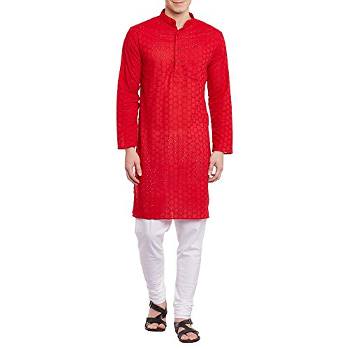 Herren Bestickt Cutwork Kurta mit Churidar Pyjama Hose Maschine Baumwollstickerei, Brust 50 Zoll, XXL, Rot -