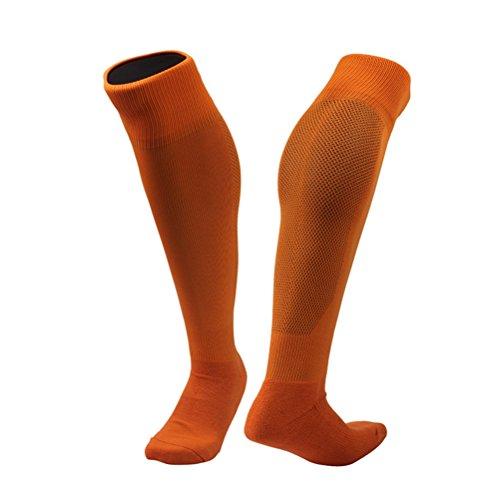 VORCOOL Kompressionsstrümpfe Fußball Socken Herren Anti Slip Knie Sportsocken für Radfahren, Joggen, Rennen, Fahren, Wandern (Orange)