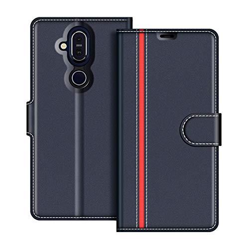 COODIO Nokia 8.1 Hülle Leder, Nokia 8.1 Lederhülle Ledertasche Wallet Handyhülle Tasche Schutzhülle mit Magnetverschluss/Kartenfächer für Nokia 8.1, Dunkel Blau/Rot