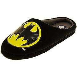 Hombre Batman Negro Textil Fleece Mule Zapatillas EU 45