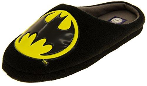 Herren Schuhe Batman (Herren Batman Textil Fleece Mule Hausschuhe Schwarz EU)