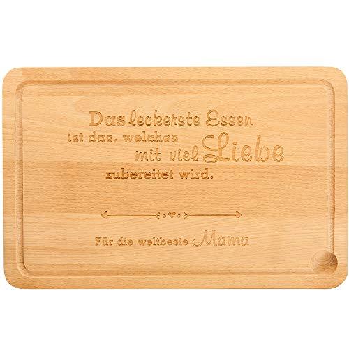 MC-Trend Küchenbrett - Schneidebrett aus natürlichem Buchenholz - für die Beste Mama oder Oma der Welt - Holzbrett, Brotzeitbrett, Schneidbrett als Perfektes Geschenk (Mama)