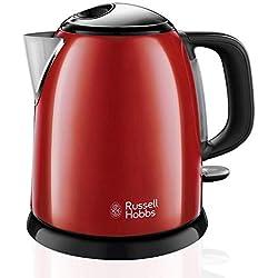 Russell Hobbs ColoursPlus 24992-70 Hervidor de agua eléctrico pequeño 2400 W, 1 litro, Acero Inoxidable, Rojo