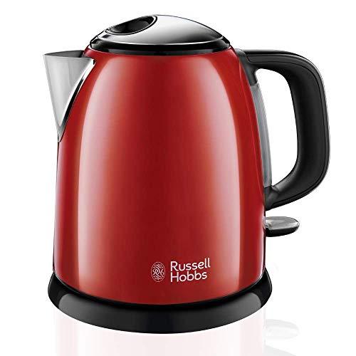 Russell Hobbs ColoursPlus 24992-70 Hervidor de agua eléctrico pequeño, 2400 W, 1 litro, acero inoxidable, Rojo Nuevo