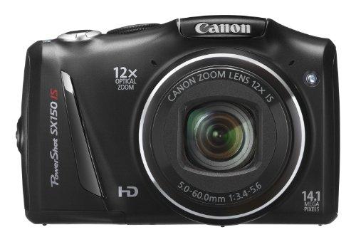 Canon PowerShot SX 150 IS Digitalkamera (14 MP, 12-fach opt. Zoom, 7,6cm (3 Zoll) Display, bildstabilisiert) schwarz