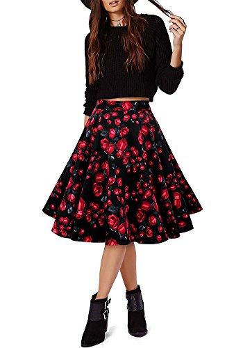 MISSEUROUS Frauen A-linien Elegant Hohe Minikleider Vintage Damen Röcke Farbe J