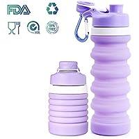 Weisika Silicona Botella de Agua Plegable Ligero Anti Fuga Sin BPA Grado alimenticio médico por Viajar