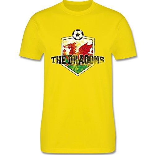 EM 2016 - Frankreich - Wales- The Dragons Vintage - Herren Premium T-Shirt Lemon Gelb