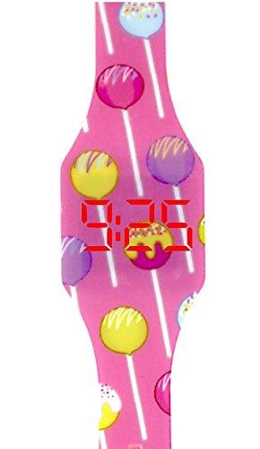 Reloj LED Digital niña chica, infantil y joven, de pulsera, correa de suave silicona, trendy regalo, chupa chups, Kiddus KI10209