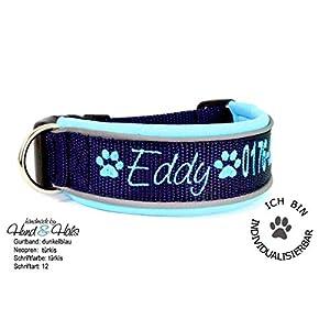 Hund&Hals – Halsband 1.0 – Hundehalsband Gurtband mit Neopren mit WUNSCHTEXT