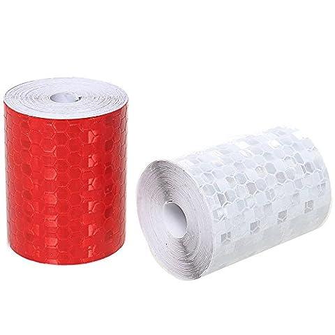 Réflecteur et bande, Lot de 23m * 50mm fiable haute intensité ruban de signalisation Blanc et Rouge