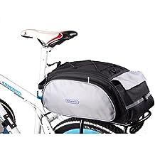 Huntvp Bolsa Trasera para Bicicleta Bolsa de Equipaje Bolsa de Bicicleta Impermeable Bolsa Multifunción Bolsa de Almacenamiento Posterior y de Buena Calidad 13L (Negro, 40 * 16 * 21 CM)