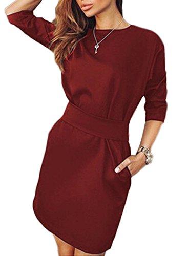 Minetom Vestiti Donna Vintage Girocollo Maniche a 3/4 OL Professionale Partito Vestito con 2 Tasche Laterali (IT 38, Vino rosso)