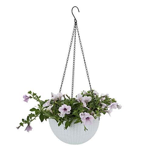 Batop Blumenampel Hängen, Plastik Blumentopf Balkon Blumenampel Rattan Blumentopf Hängetopf für Garten, Balkon, Fensterbank - Weiß