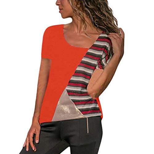 2c8d3bda405bcf Lazzboy Women Colour Block Short Sleeve Patchwork Ladies T Shirt Blouse Top  Pullover(5XL,