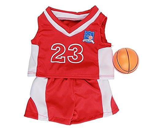 Rouge Basketball tenue avec balle / teddy vêtements pour 15