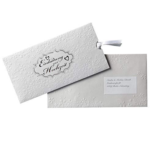 Einladung zur Hochzeit \'Silverlove\' - Einsteckkarte zum Bedrucken, inkl. passendem Umschlag, Satinband und Adressetikett