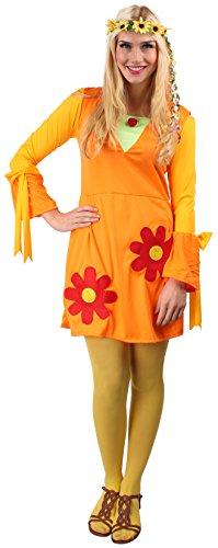 Blumenkleid orange-gelb-grün für Damen | Größe 36/38 | 1-teiliges Blumen Kostüm | Blümchenkleid Faschingskostüm für Frauen | Hippie Kleid für Karneval
