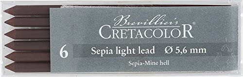 Cretacolor Artists' Sepia Dry Leads Light (Set of 6)