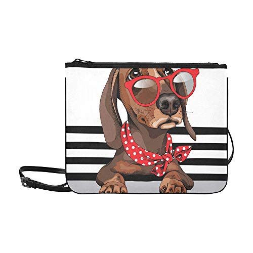 WYYWCY Dachshund Dog Red Sonnenbrille Polka Dots Benutzerdefinierte hochwertige Nylon Slim Clutch Bag Cross-Body Bag Umhängetasche