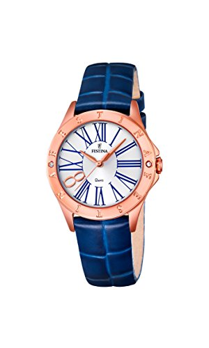 Festina BOYFRIEND Women's Quartz Watch with Silver Dial Analogue Display and Blue Leather Strap F16930/1
