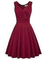 GRACE KARIN 50s Kleid Rockabilly ärmellos Partykleid Damen Vintage Kleider 50er Jahre Partykleider CL698-2 M