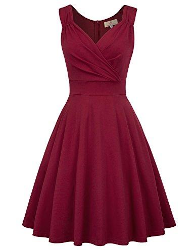 Retro Kleid a Linie v Ausschnitt Kleid Damen 50s Kleid a Linie trägerkleider Fashion Kleid CL698-2 S