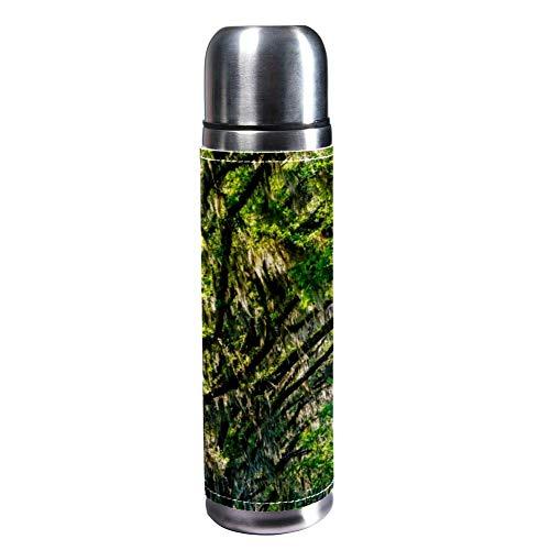 Indimization Green Forest Vakuumisolierte Edelstahl-Wasserflasche, Reisebecher, Thermosbecher, Lederbezug, 43,2 ml -