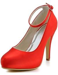 ElegantPark EP11049-IP Mujer Satén Tira De Tobillo Punta Chiusa Bombas El tacón Alto Plataforma Zapatos De Boda