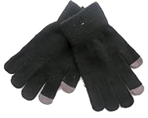 Men's Knitted Touch Screen Gloves with grey tips for touch screen phones and ipods