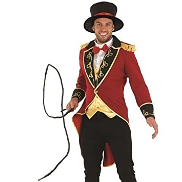 ADULTES HOMMES CIRQUE CARNAVAL Monsieur Loyal Costume Déguisement MEDIUM  LARGE XL , Rouge, Medium