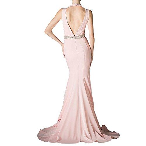 La_mia Braut Sexy Tief V-ausschnitt Chiffon Abendkleider Ballkleider Brautjungfernkleider Abschlussballkleider Lang Pink