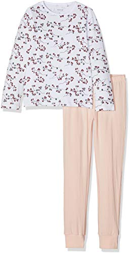 NAME IT Mädchen NKFNIGHTSET Flowers NOOS Zweiteiliger Schlafanzug, Mehrfarbig (Weiß Bright White), 116