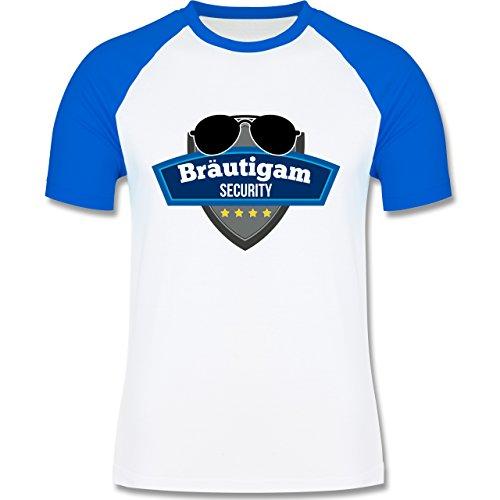 JGA Junggesellenabschied - Bräutigam Security Police - zweifarbiges Baseballshirt für Männer Weiß/Royalblau