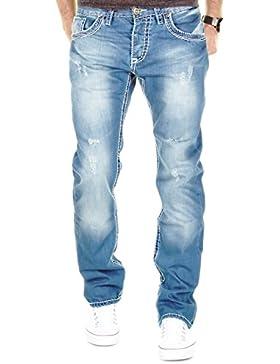 MERISH Herren Jeanshose Blue Denim Bleached Dicke Naht Destroyed Trend Usedlook Jeans Hose Neu 9156