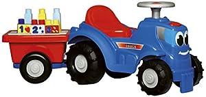 Tractor correpasillos de Abrick con remolque y piezas (Ecoiffier 7799)