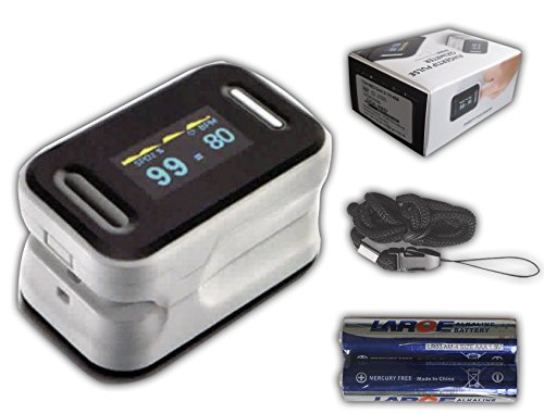 Pulsoximeter Finger Pulsoxymeter Original Tiga Gold 2 Premium mit OLED Anzeige + Batterien + dt. Anleitung + Garantie + zertifizierte Qualität Fingertip Pulsoximeter