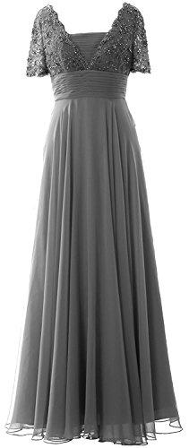 Beyonddress Damen Perlen Abendkleider Lang Ballkleid Brautjungfernkleider Mit Ärmeln Chiffon Cocktailkleid Grau