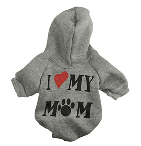 idung Drucken T-Shirts Welpe Hund Katze Hoodie Warm Sweatshirts Grau S (Halloween-t-shirt-praktisch,)