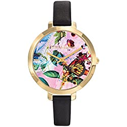 Flower Area - Woman - Christian Lacroix - Watch - Leather Bracelet - Black PVD Steel 8009708