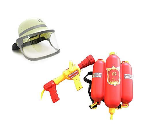 Idena 8040009 - Feuerwehr Wasserspritze, ca. 40 cm (Wasserspritze + Helm)