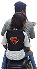 SNS Superman Safety Belt for 2-Wheeler Both Front and Back Sitting with Tight and Adjustable Carrier (Black)