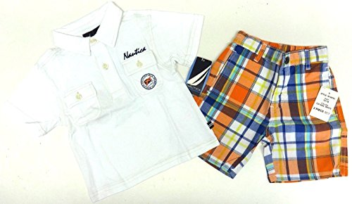 Nautica Set Poloshirt + Shorts (Badeshorts) T-Shirt kurze Hose Junge Baby boy weiss (12-18 Monate, weiss/orange) (Nautica Kurze Jungen)
