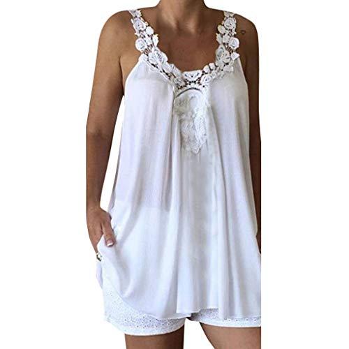 321ec181473bf HLIYY Mode Femmes T-Shirt décontracté Caraco Top en Mousseline avec Épissée  Dentelle et Fine