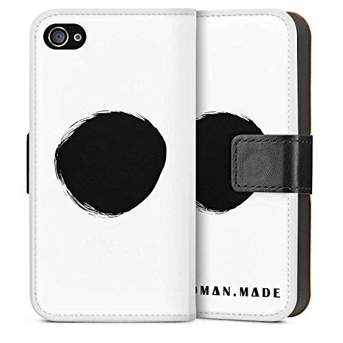 Apple iPhone 5s Housse Étui Protection Coque Cercle Noir Trou Sideflip Sac