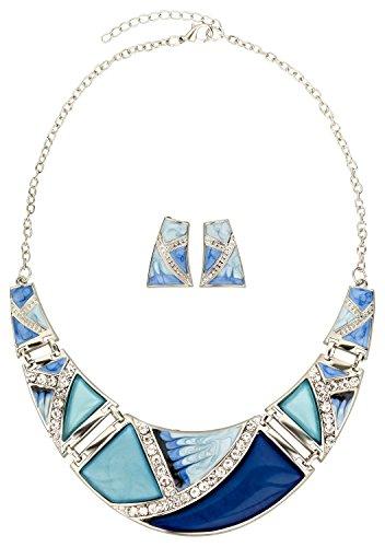Ho-ersoka donne gioielli collana set orecchini resina strass blu / argento