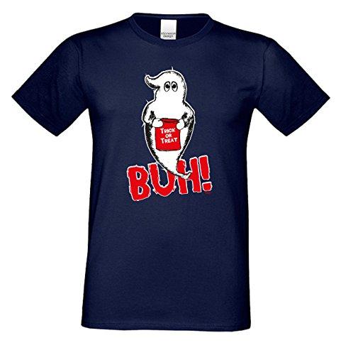 Grusel T-Shirt Herren Fun-Motiv Geist Buh! Geschenkidee Geburtstagsgeschenk Hexen Gespenster Geister Farbe: navy-blau Navy-Blau