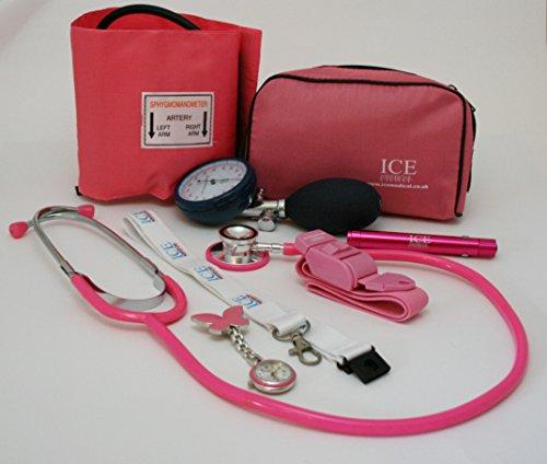 ICE Medical Anfänger-Mediziner-Set, Rosa, Aneroid-Blutdruckmessgerät, Stethoskop, Leuchtstift, Adernpresse, Taschenuhr mit Schmetterling, Umhängeband mit Kartenhalterung (Blutdruck-manschette Pink)