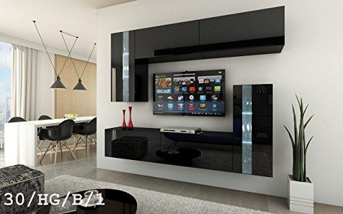 FUTURE 30 Moderne Wohnwand, Exklusive Mediamöbel, TV-Schrank, Schrankwand, TV-Element Anbauwand, Neue Garnitur, Große Farbauswahl (RGB LED-Beleuchtung