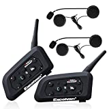 Excelvan 2 Packs BT Motorcycle Helmet Bluetooth 3.0 Intercom Headset 1.2KM Wireless Motorbike